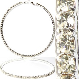Rhinestone Hoop Earrings AB Silver About 75mm L Diameter Ger982