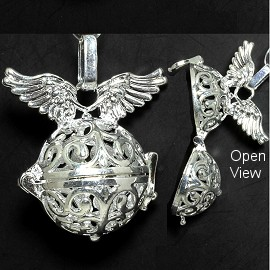 Angel Silver White Cage Locket Pendant HX28