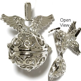 Angel Silver Cage Locket Pendant HX32