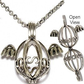 Angel Silver Gray Cage Locket Necklace Long Chain HX45
