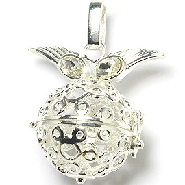 Globe Ball Cage Locket Pendant 21mm Wide Wings Silver HX66