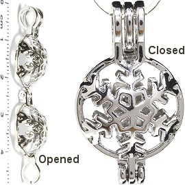 Pendant Snow Flake Small Cage Locket Silver Tone HX84
