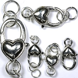 Silver Dark 5pcs Lobster Claw Locking Heart 12x26mm Long JF005