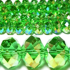 70pcs 10mm Spacers Crystal Beads Aura Borealis Green JF028