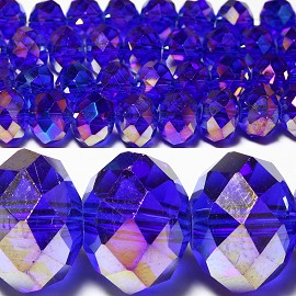 70pcs 10mm Spacers Crystal Oval Bead Royal Blue Aura JF033