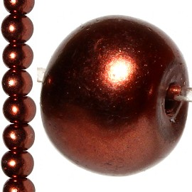 100pc 8mm Faux Pearl Bead Spacer Bronze Brown JF1059