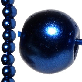 100pc 8mm Faux Pearl Bead Spacer Dark Blue JF1060