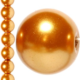 40pc 10mm Faux Pearl Bead Spacer Gold Orange JF1074