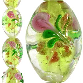 20pc 16x11mm Glass Oval Rose Spacer Clear Lime Green JF1087