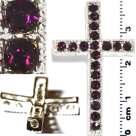 1pc Rhinestone Cross Spacer Dark Purple JF1143