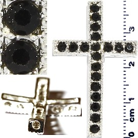 1pc Rhinestone Cross Spacer Black JF1144