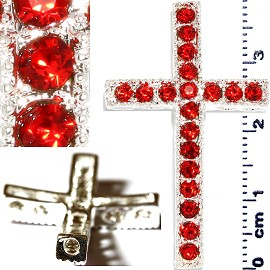 1pc Rhinestone Cross Spacer Red JF1145