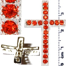 1pc Rhinestone Cross Spacer Orange JF1146