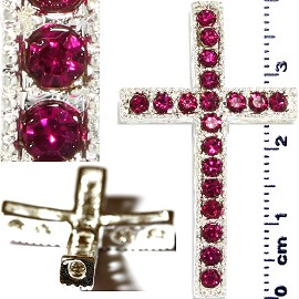 1pc Rhinestone Cross Spacer Magenta JF1147