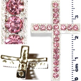 1pc Rhinestone Cross Spacer Pink JF1148