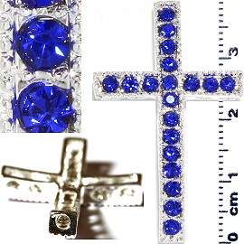 1pc Rhinestone Cross Spacer Blue JF1149