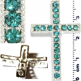 1pc Rhinestone Cross Spacer Teal JF1150