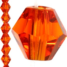 50pc 6mm Bicone Crystal Bead Spacer Orange JF1156