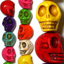 18pc 22x21x18mm Earth Stone Skull Spacer Mix Color JF1168