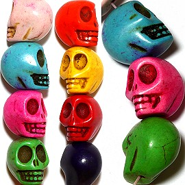 30pc 13x12x10mm Earth Stone Skull Spacer Mix Color JF1201