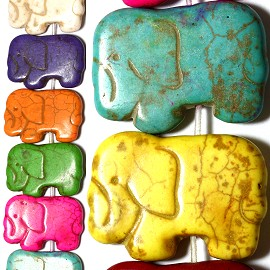 24pc 30x21x5mm Earth Stone Elephant Spacer Mix Color JF1173