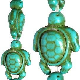 22pc 18x15x8mm Earth Stone Sea Turtle Spacer Turquoise JF1179