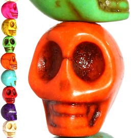 40pc 10x9x8mm Earth Stone Skull Spacer Mix Color JF1182