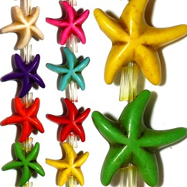 26pc 14x5mm Earth Stone Starfish Spacer Mix Color JF1193