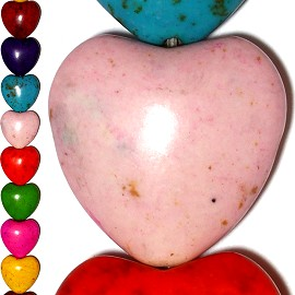 20pc 20x20x9mm Earth Stone Heart Spacer Mix Color JF1211