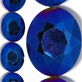 20pc 20x16x10mm Crystal Oval Spacer Solid Blue Aura JF1238