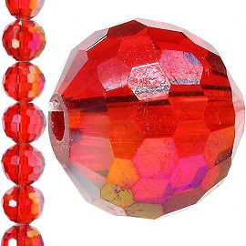 70pc 8mm Crystal Round Bead Spacer Red Aura JF1264