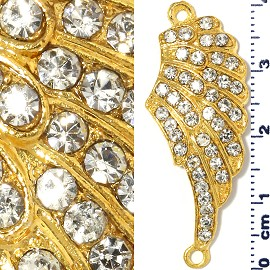 1pc Rhinestone Spacer Angel Wings 41x16x3mm Gold JF1302