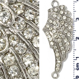 1pc Rhinestone Spacer Angel Wings 41x16x3mm Light Gray JF1304