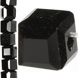 98pc 3mm Crystal Cube Bead Spacer Black JF1309