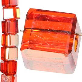 98pc 3mm Crystal Cube Bead Spacer Dark Orange Gold Aura JF1314