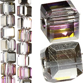 98pc 4mm Crystal Cube Bead Spacer Dark Clear Aura JF1328