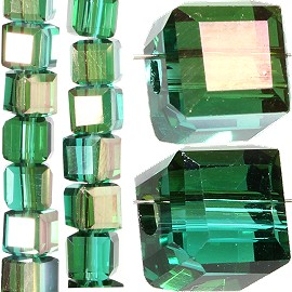 98pc 4mm Crystal Cube Bead Spacer Dark Teal Gold Aura JF1329