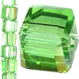 98pc 4mm Crystal Cube Bead Spacer Green Gold Aura JF1330
