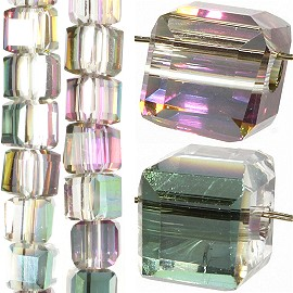 98pc 4mm Crystal Cube Bead Spacer Clear Mix Aura JF1332