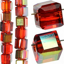 98pc 4mm Crystal Cube Bead Spacer Dark Red Gold Aura JF1335