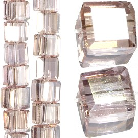 98pc 4mm Crystal Cube Bead Spacer Light Pink Silver Aura JF1336