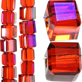 98pc 4mm Crystal Cube Bead Spacer Red Mix Aura JF1337
