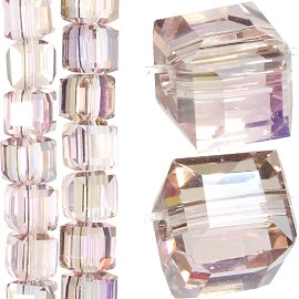 98pc 6mm Crystal Cube Bead Spacer Light Pink Mix Aura JF1348