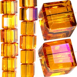 98pc 6mm Crystal Cube Bead Spacer Orange Mix Aura JF1350