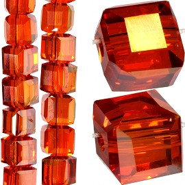 98pc 6mm Crystal Cube Bead Spacer Dark Orange Gold Aura JF1351