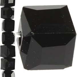 98pc 6mm Crystal Cube Bead Spacer Black JF1356