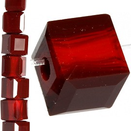 98pc 6mm Crystal Cube Bead Spacer Dark Red JF1358