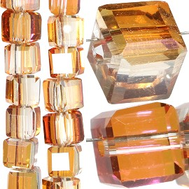 98pc 4mm Crystal Cube Bead Spacer Orange Aura JF1360