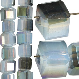 98pc 4mm Crystal Cube Bead Spacer Dark Clear Teal Aura JF1361