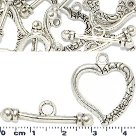 8 Pairs Connecting Ends Clasp Toggle Heart Silver JF1373